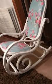 bentwood rocking chair paint in brilliant white chalk paint and waxed for protection