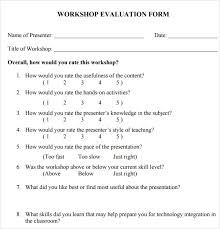 Evaluation Form Template Workshop Evaluation Form 10 Free Download In Pdf