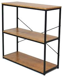 tall metal 3 tier bookcase with wood shelves industrial bookcases by home garden collections natural uk
