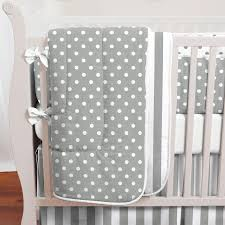 gray and white dots and stripes baby crib bedding