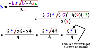 solving quadratic equations cool math algebra help lessons the the quadratic formula