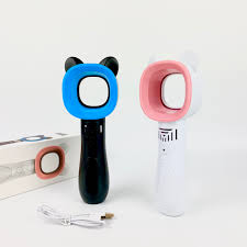 Quạt Cầm Tay Mini Không Cánh Hình Tai Mèo Nhỏ Gọn Để Bàn 3 Tốc Độ