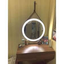 SALE 3.3 CỰC RẺ] Gương Tròn Đèn LED Dây Da Treo Tường Cao Cấp - đường kính  40cm-50cm - Gương