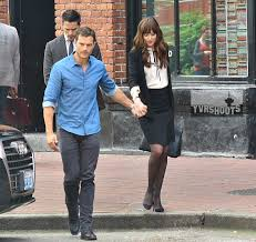 dakota johnson hollywood north fifty shades redux fifty shades d filmed a scene today of christian grey jamie dornan picking up his wife ana dakota johnson at work