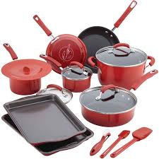 rachael ray pan set. Unique Ray Rachael Ray 16Piece Hard Porcelain Enamel Nonstick Cookware Set In Pan