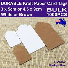 KRAFT <b>Paper</b> Card Price Tag Label   BULK <b>1000pcs</b>   <b>White</b> or Brown