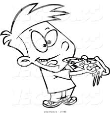 Small Picture Vector of a Cartoon Boy Eating Pizza Outlined Coloring Page by