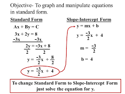 objective to graph and manipulate equations in standard form