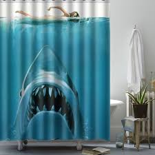 150x180cm shark underwater jaws theme polyester waterproof bath shower curtain with hooks