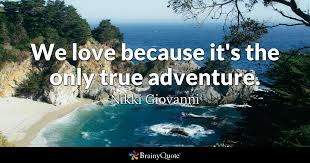 Love Adventure Quotes Amazing We Love Because It's The Only True Adventure Nikki Giovanni