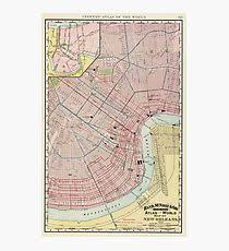 vintage map of new orleans louisiana 1897 photographic print on new orleans map wall art with old new orleans map wall art redbubble