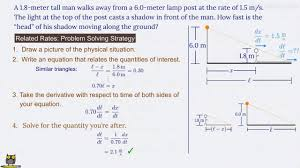 Shadow Lamp Post Related Rates Problem Matheno Com