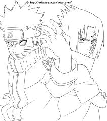 naruto vs sasuke coloring pages sasuke and naruto lineart midona