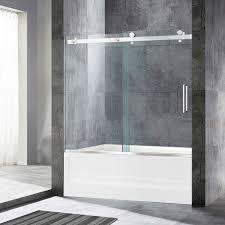 woodbridge deluxe frameless sliding tub door 5 16 clear tempered glass brushed nickel finish 60 x 62 wxh msdf6062 b woodbridge