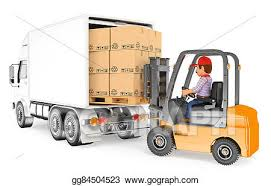Stock Illustration 3d Worker Driving A Forklift Loading A Truck