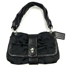 COACH 13408 Parker Sig Op Art Small Flap Bag - Black - ReuseNation