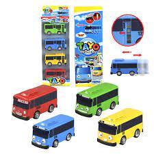 4 Cái/bộ TAYO Các Xe Buýt Nhỏ Hàn Quốc Thu Nhỏ Bus Phim Hoạt Hình Oyuncak  Araba Mô Hình Xe Ô Tô Mini Nhựa Kéo Lại TAYO Bus dành Cho Trẻ Em
