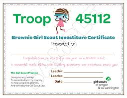 Brownie girl scout investiture