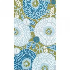 dandelion green blue white outdoor rug 8x10