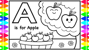 Coloring Alphabets For Kids A Is For Apple Coloring Page Abc