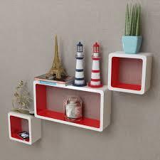 vidaxl 3pc storage display cube floating shelves wall mount matte white red