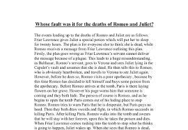 whose fault was it for the death of romeo and juliet gcse  document image preview