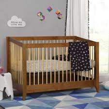 Babyletto Sprout Crib in Chestnut and Natural finish, mid-century modern  crib with Tuxedo