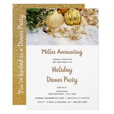 Gold Ornaments Business Christmas Holiday Party Invitation