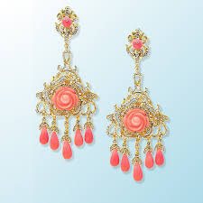 crystal feather with c flower chandelier earrings