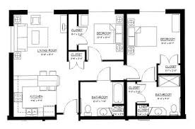 This 813 sq. ft. two bedroom apartment includes a full living room, two  bedrooms, kitchen, two bathrooms, and five closets.