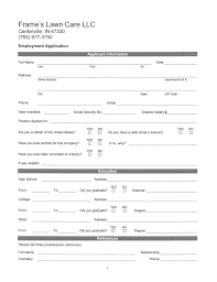 frame s lawn care snow removal employment application to access employment application please click the jpeg file to the left