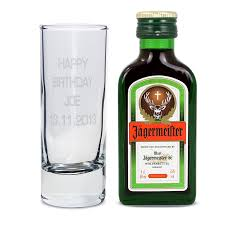 personalised shot gl and miniature jagermeister
