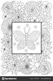 Hand Getekend Vlinders Met Bloemen Voor Stress Kleurplaten Pagina
