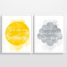 you are my sunshine wall art grey and yellow wall art nursery decor kids room art nursery prints kids prints set of 2 prints children prints on grey and yellow wall art nursery with hey i found this really awesome etsy listing at https www etsy