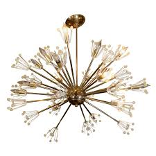 mid century brass and glass sputnik chandelier by emil stejnar for