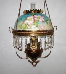 antique victorian hanging parlor oil lamp w hp fl decor matching frame