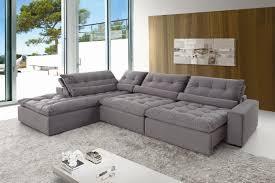 sofá de canto 5 lugares retrátil e reclinável confortable casadecasa
