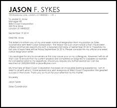 One Weeks Notice Letter One Week Notice Resignation Letter Example Letter Samples Templates