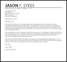 One Week Notice Resignation Letter One Week Notice Resignation Letter Example Letter Samples