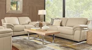 Cindy Crawford Home Grand Palazzo Beige Leather 40 Pc Living Room Adorable Leather Couch Living Room Ideas Model