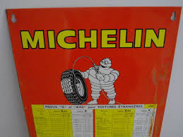 Old Plate Michelin Tire Pressure Chart 1968 France