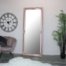rose gold pink full length wall mirror