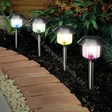 4 X Colour Changing Solar Power Light LED Post Outdoor Lighting Led Solar Powered Garden Lights