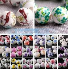 <b>10pcs</b> Round <b>10mm 12mm</b> Flowers Patterns Porcelain Ceramic ...