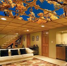 basement ceiling ideas cheap. Ceiling Art Fits Easily Into Your Dropped Or Suspended Grid And Provides Not Only Basement Ideas Cheap S