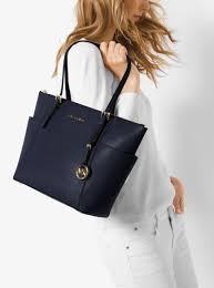 womens totes michael michael kors jet set large top zip saffiano leather tote navy