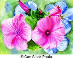 rose and blue flowerses