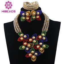 Crystal Beads Necklace Designs In Gold Beautiful Champagne Gold Crystal Beads Flower Jewelry Set
