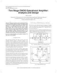 Two Stage Op Amp Design Pdf Two Stage Cmos Operational Amplifier Analysis And Design