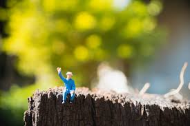 Miniature People Old Man Sitting On Green Nature Background Using